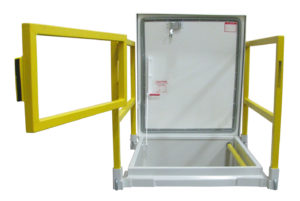 Milcor roof hatch and safety railing